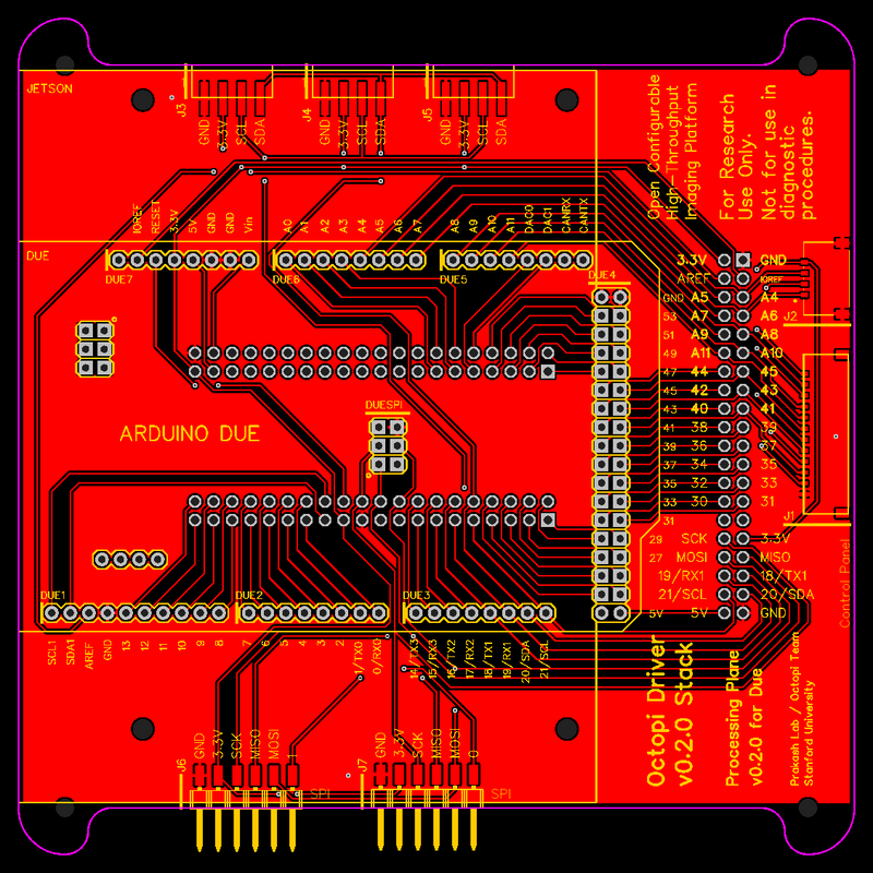 PCB layout for the processing plane for a physically modular PCB system for the Squid microscope.