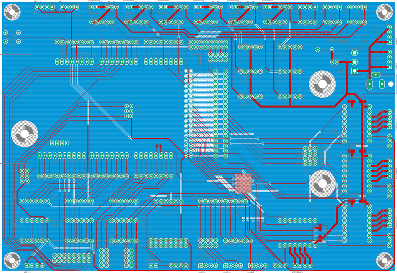 PCB layout for a monolithic PCB for the Squid microscope.