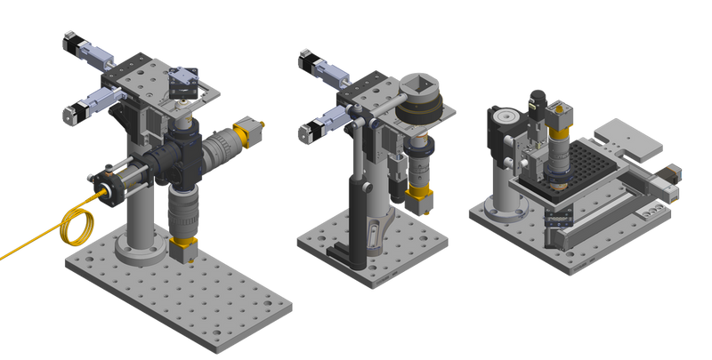CAD renderings of three configurations of the Squid microscope.