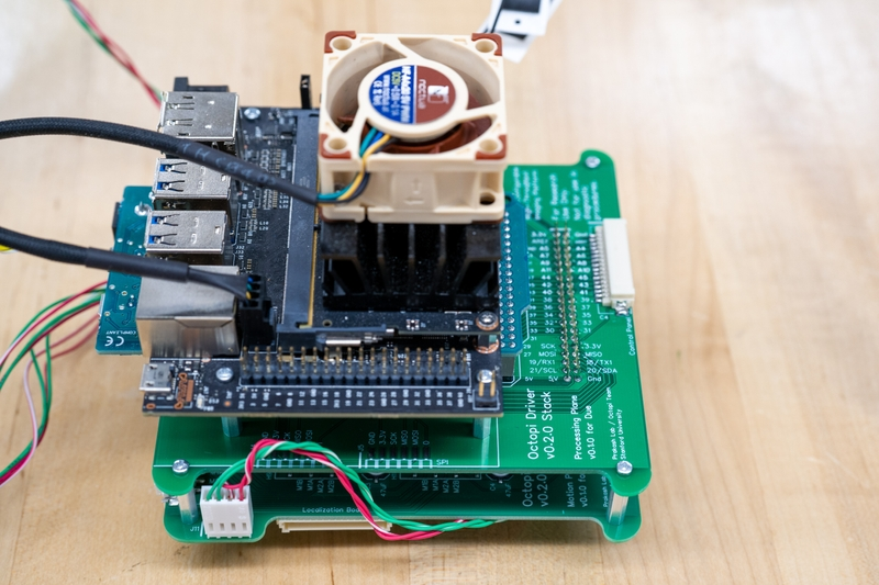 Photograph of a stacked design for the Octopi driver electronics.