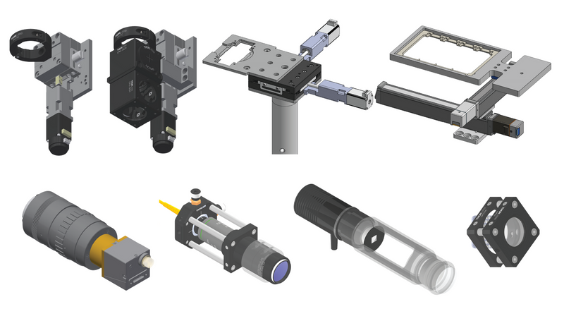 CAD renderings of various building blocks for the Squid microscope.